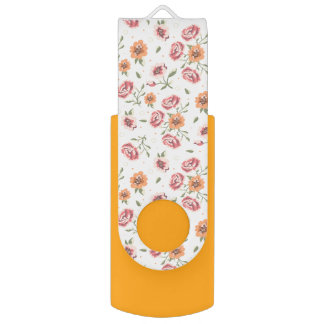 Yellow flash drive with floral motif