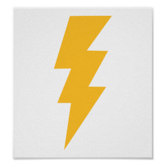 Yellow Flash Lightning Bolt Poster