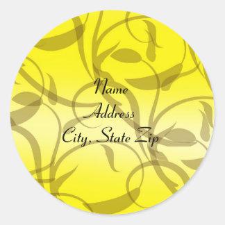 Yellow Fleur Swirls Sticker