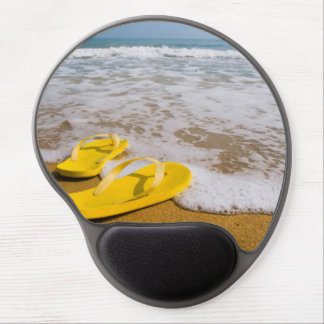 Yellow Flip Flops on the beach Gel Mouse Pad
