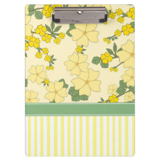 Yellow Floral and Stripes Clipboard