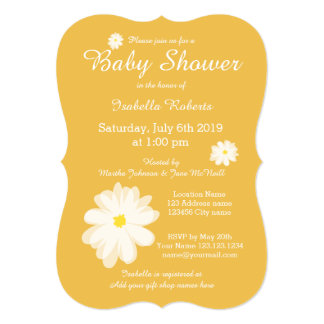"""Yellow floral baby shower invitations with flowers 5"""" x 7"""" invitation card"""