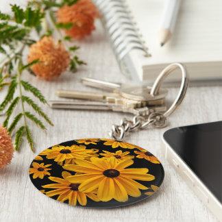Yellow Floral Black Eyed Susan Flower Keychain
