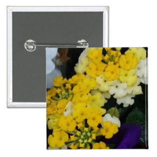 Yellow Floral Clusters 2 Inch Square Button