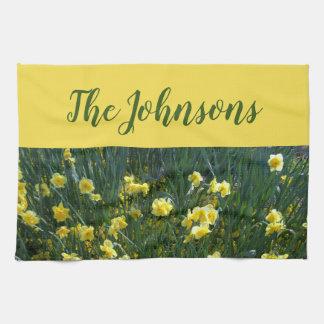 Yellow floral Daffodils Tea Towel