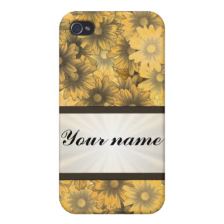 Yellow floral daisy iPhone 4 case