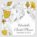 Yellow Floral Flowers Bridal Shower Favour Sticker