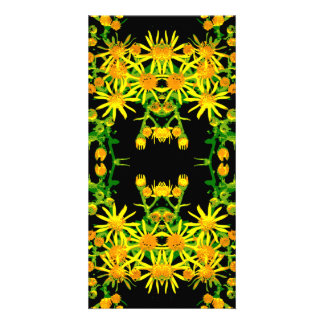 Yellow Floral Graphic. Photo Card Template