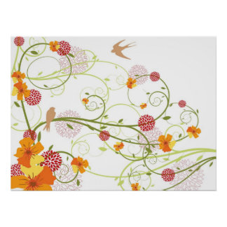 Yellow Floral Hibiscus & Swallows Custom Poster