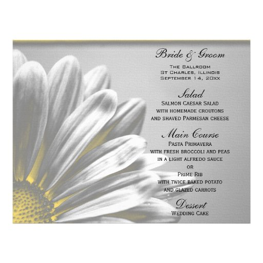 Yellow Floral Highlights Wedding Menu Full Color Flyer