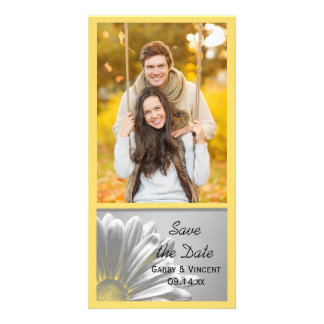 Yellow Floral Highlights Wedding Save the Date Photo Cards