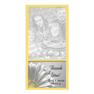 Yellow Floral Highlights Wedding Thank You Custom Photo Card