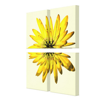 Yellow Floral Illustration Wrapped Canvas Art Stretched Canvas Prints