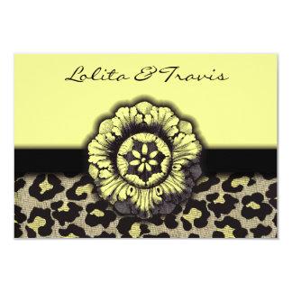 "Yellow Floral Leopard Wedding Invitation RSVP 3.5"" X 5"" Invitation Card"