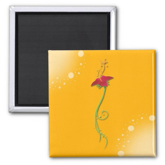 Yellow Floral Magnet_Square Square Magnet
