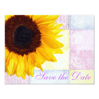 Yellow Floral Modern Country Sunflower Wedding 11 Cm X 14 Cm Invitation Card