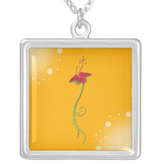 Yellow Floral Necklace_Square Silver Plated Necklace