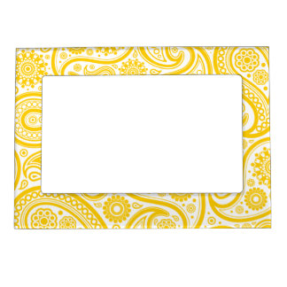 Yellow Floral Paisley Pattern Magnetic Frame