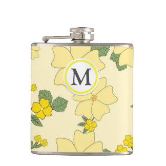 Yellow Floral Pattern Hip Flask