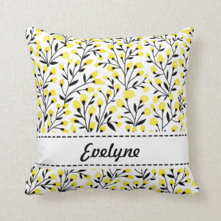 Yellow Floral Personalised Pillow