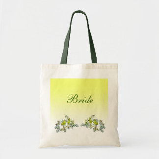 Yellow Floral Wedding Bride Budget Tote Bag