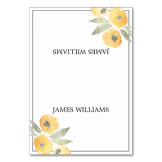 Yellow Floral Wedding Place Cards Table Cards