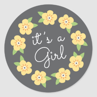 Yellow floral wreath it's a girl baby shower round stickers