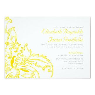 Yellow Flourish Wedding Invitations Invites