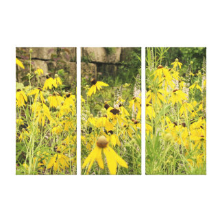 Yellow Flower 3 Panel Canvas Decoration Canvas Print