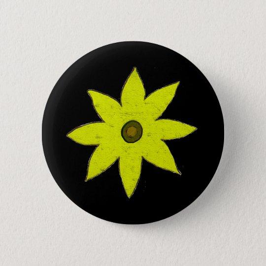 yellow flower 6 cm round badge