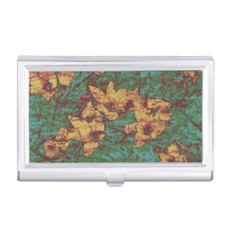 Yellow flower against leaf camouflage pattern 2 business card holder