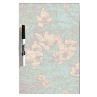 Yellow flower against leaf camouflage pattern 2 dry erase white board