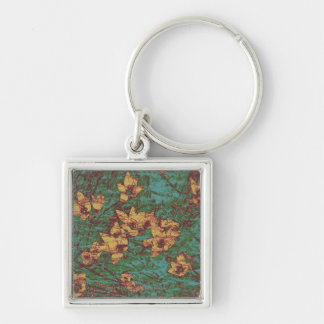 Yellow flower against leaf camouflage pattern 2 key ring