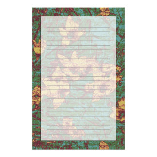 Yellow flower against leaf camouflage pattern 2 stationery design