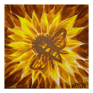 Yellow flower and bee poster