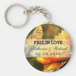 Yellow Flower and Butterfly Wedding Favour Basic Round Button Key Ring