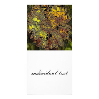 yellow flower as stained glass photo card