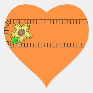 Yellow Flower  Background Heart Sticker