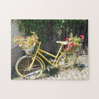 Yellow Flower Bike On The Street Jigsaw Puzzle