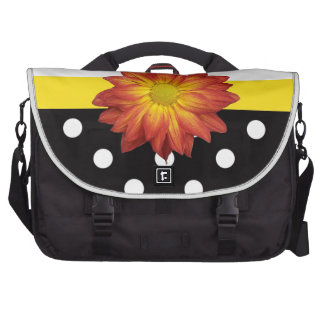 Yellow flower black white polka dot girly computer bag