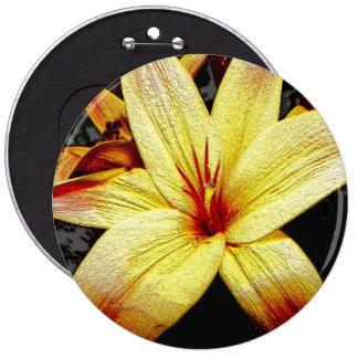 Yellow flower blossom illustration 6 cm round badge
