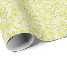 Yellow Flower Blossoms Wrapping Paper