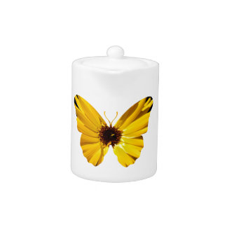 Yellow flower butterfly silhouette