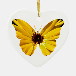 Yellow flower butterfly silhouette ceramic heart decoration