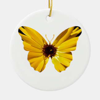 Yellow flower butterfly silhouette christmas ornament