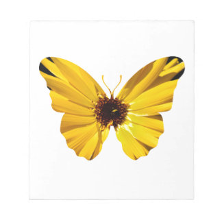 Yellow flower butterfly silhouette notepad