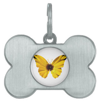 Yellow flower butterfly silhouette pet tag