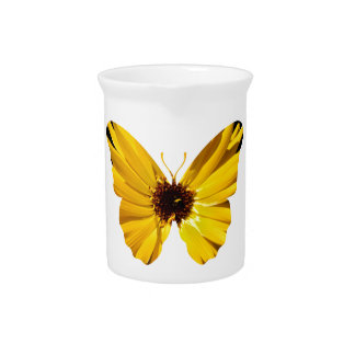 Yellow flower butterfly silhouette pitcher