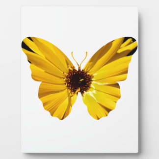 Yellow flower butterfly silhouette plaque