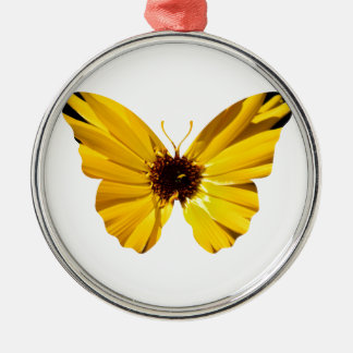 Yellow flower butterfly silhouette Silver-Colored round decoration